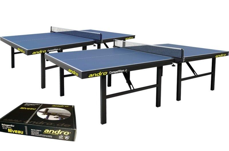 andro Kombi 2x Competition blau + Netze Niveau + 72er-Speedball 3S