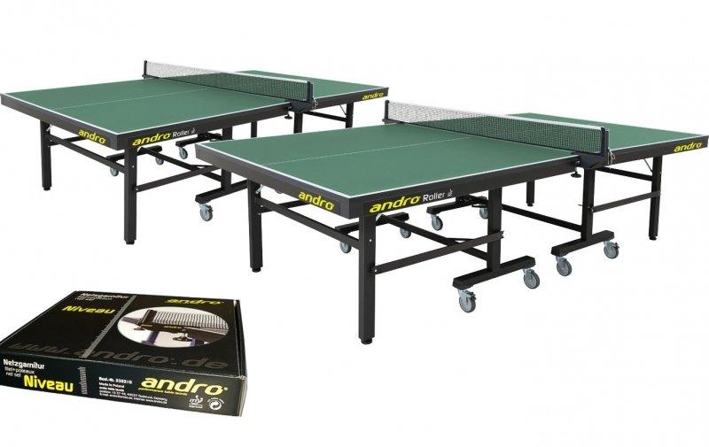 andro Kombi 2x Roller grün + Netze Niveau + 72er-Speedball 3S