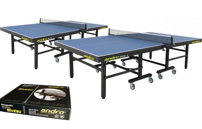 andro Kombi 2x Roller blau + Netze Niveau + 72er-Speedball 3S